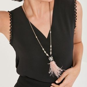 Stella & Dot Verona blush feather pendant necklace